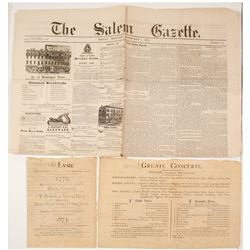 1873 Concert Program & 1875 Salem Newspaper