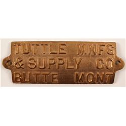 Tuttle Manufacturing & Supply Co.Brass Plaque