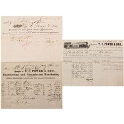 Three Different T.C. Power & Bro. Billheads, Ft. Benton Traders