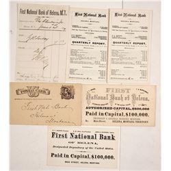 First National Bank of Helena, Montana Territory Ephemera