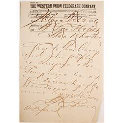 Territorial Montana Telegram Signed by Senator/ Post Trader TC Power