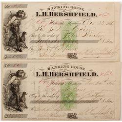 Virginia City. Montana Gold Coin Checks Drawn on the Bank of California