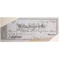 1861 Nevada Territory Check Signed by Orion Clemens (Brother to Mark Twain)