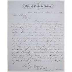 1864 Carson City, Nevada Territory Auditor Letter
