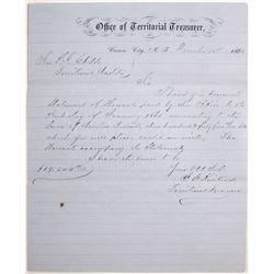 Carson City, Nevada Territory Treasurer Letter Signed by Future Governor Kinkead