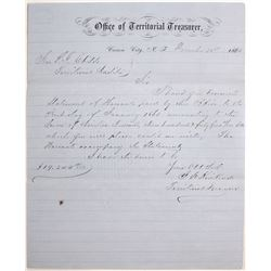 Carson City, Nevada Territory Treasurer Letter Signed by Future Governor Kinkead