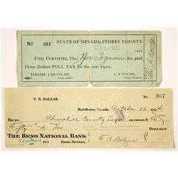 Two Nevada Checks incl. Governor F.B. Balzar