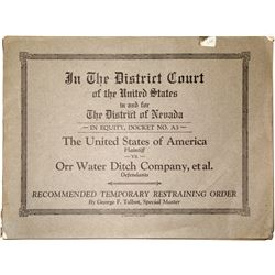 Orr Water Ditch Company Legal Papers