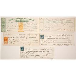 1860s Virginia City, Nevada Mining Check Collection
