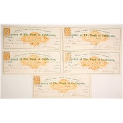Five Gould & Curry Mining Co. Checks, RN-C & Nevada Revenue Stamps