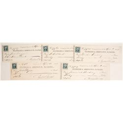 Five Virginia City, Nevada Territory Checks to Gould & Curry Miners