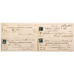 Four Virginia City, Nevada Territory Mining Checks