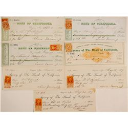 Gould & Curry Mining Co. Check Collection w/ Nevada Revenue Stamps