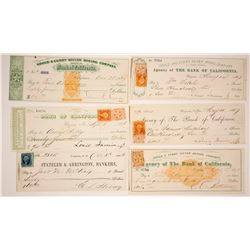 Six Different Gould & Curry Mining Revenue Checks, Virginia City, Nevada