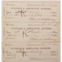 Three 1862 Virginia City, Nevada Territory Mining Checks