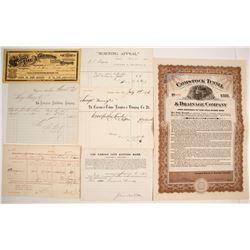 Virginia City and Carson City Ephemera Collection including a Comstock Tunnel Bond