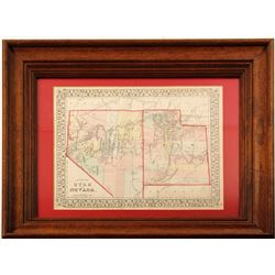 Framed map of Nevada and Utah by Mitchell