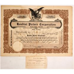 Houdini Picture Corporation Stock Certificate Signed by Harry Houdini