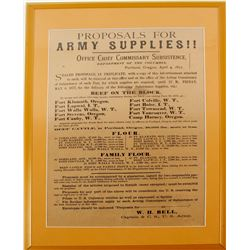 Oversize US Commisarry Dept. Proposal for Army Supplies