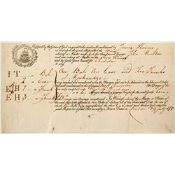 1790 Ship Bill of Lading for Transport from River Thames to Charleston