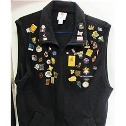 2002 Winter Olympics Black Vest Full of Pins