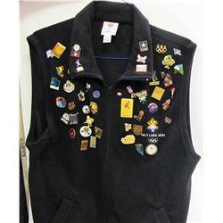 2002 Winter Olympics Black Vest Full of Pins