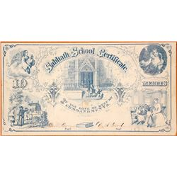 19th Century Sabbath School Merit Certificate