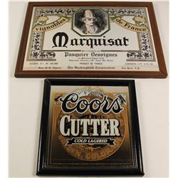 Coors Cutter and Marquisat Beer Framed Mirrors