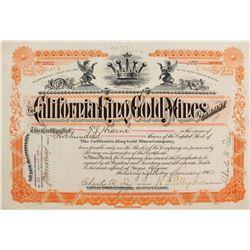 California King Gold Mines Co. Stock Cert.