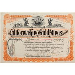 California King Gold Mines Co. Stock Cert.