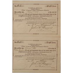 Ferncliff Coal Company Stock Certificates
