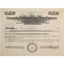 Cieneguita Consolidated Mines Co. Stock Cert.