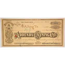 Addenda Gold & Silver Mining Company Stock Certificate, Bodie, 1884