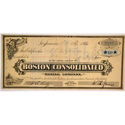 Boston Consolidated Mining Co. Stock Certificate, Bodie, 1882