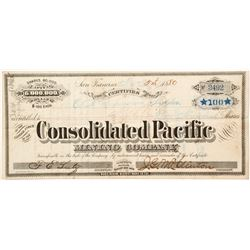 Consolidated Pacific Mining Company Stock Certificate, Bodie