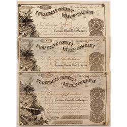 Three 1854 Tuolumne County Water Co. Stock Certificates