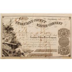 Tuolumne County Water Company Stock Certificate, 1854