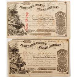 Two 1850s Tuolumne County Water Co. Stock Certificates