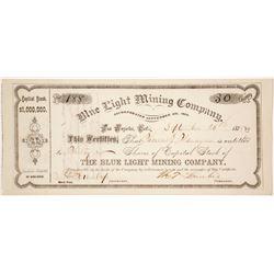 Blue Light Mining Company Stock Certificate