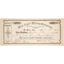 Blue Light Mining Company Stock Certificate