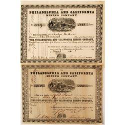 Pair of Philadelphia & California Mining Company Stock Certificates