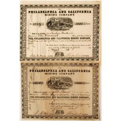 Pair of Philadelphia & California Mining Company Stock Certificates