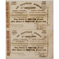 Pair of Le Nouveau Monde Stock Certificates