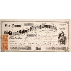 Big Tunnel Gold & Silver Mining Co. Stock Certificate, Nevada City, CA 1865