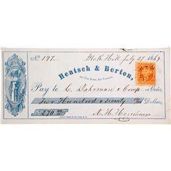 Hentsch & Berton Check (SS Central America Ingots)