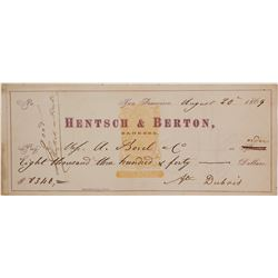 Hentsch & Berton Revenue Imprinted Check (SS Central America Ingots)