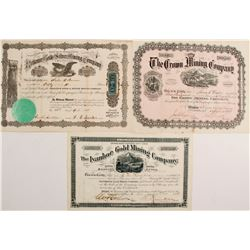 Ivanhoe Gold Mining, Crown Mining, Reliance Gold & Silver Mining Stock Certs.