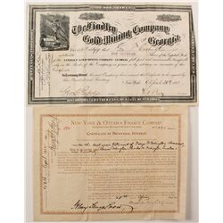 Findley Gold Mining Co. of Georgia Stock Certificate Plus One Extra