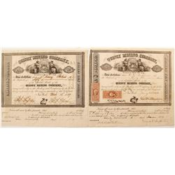 Two Quincy Mining Co. of Michigan Stock Certificates