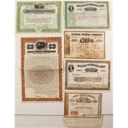 Six Different Michigan Mining Stock Certificates